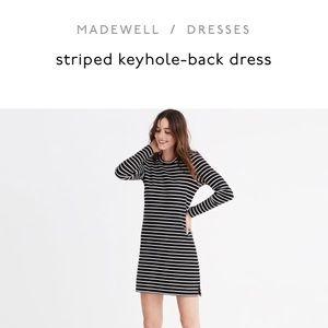 Madewell striped keyhole back dress
